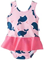 i play. Baby-Girls Infant Ultimate Swim Diaper Skirty Tanksuit,Light Pink Whale, X-Large (18-24 Months)
