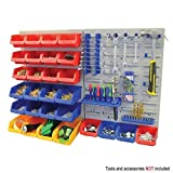 Wall Mount Storage Bin & Panel Rack Set 43 Piece Garage Warehouse Parts Tool Organizer Board