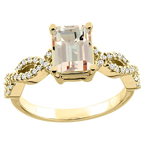 14K Yellow Gold Natural Morganite Ring Octagon 8x6mm Diamond Accent 5/16 inch wide, size 8