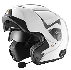GLX Modular Helmet with Built-In Bluetooth Communication System (White, Medium)