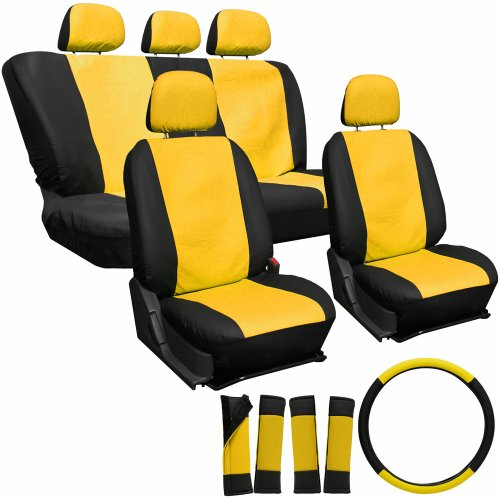 YELLOW /& BLACK Leatherette Car Seat Covers 2 x Fronts HUMMER H3