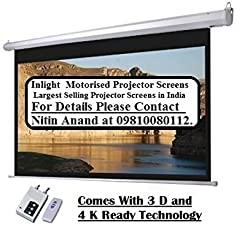 Inlight Imported Motorised Projector Screen, Size- - 7 Ft. x 4 Ft. , 16-9 FORMAT(IMPORTED A+++++ FABRIC, BLACK COATED FROM BACK SIDE) 92 Inches Diagonal, 80 Inches x 45 Inches