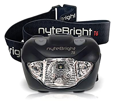 nyteBright T6 Headlamp - Flashlight w/ White, Red & Strobe CREE LED Lights for Running, Camping, Hiking Cycling, Fishing, Hunting - Waterproof, Lightweight, Adjustable Beam, Very Robust - FREE Energizer Batteries, FREE BONUS, Lifetime Warranty!