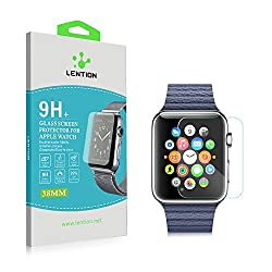 LENTION Apple Watch Screen Protector Premium Tempered Glass Protective film Ultra Hard High Defintion (HD) Maximum Clarity and Touchscreen Accuracy Bubble-free Anti-scratch HD Ultrathin 9H Shatterproof Hydrophobic Oleophobic