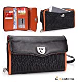 BLACK & ORANGE | Unviersal PU Leather Wristlet Women's Wallet fits Nok... show