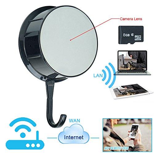 WISEUP 8GB 1080P HD フック型 隠しカメラ wifiネットワーク 動体検知 スマホ操作 SDカード付き