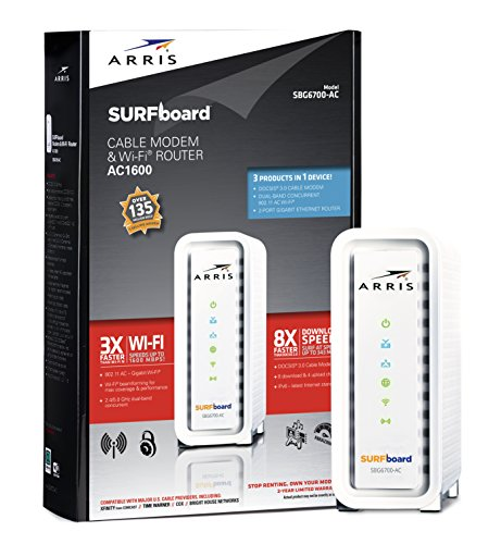 ARRIS SURFboard SBG6700AC DOCSIS 3.0 Cable Modem/ Wi-Fi AC1600 Router - Retail Packaging - White image