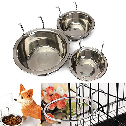 Yosoo Stainless Steel Hanging Pet Cage Bowl Diner Pet Bowl Bird Cat Dog Food Water Bowl with Hanger (Size M) (Water Dish For Bird Cage compare prices)