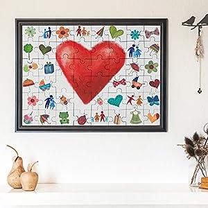 hochzeit puzzle zum bemalen im bilderrahmen aus echt holz mit 48 teilen 90 cm x 65 cm x 2 cm. Black Bedroom Furniture Sets. Home Design Ideas