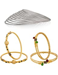 The Luxor Daily Wear Gold & Silver Plated Bangle Set Combo For Women