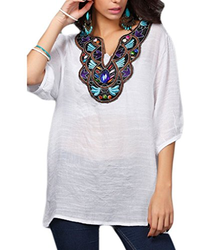 Kafeimali-Womens-Casual-Embroidery-Bohemian-Cotton-Tops-Shirt-Tunic-Blouse