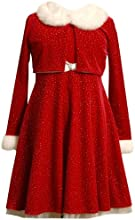 Bonnie Jean Glitter Velvet Santa Dress Cardigan 2 Pc Set Big Girls