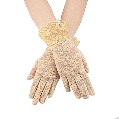 Greenmoe Women's Elegant Short Lace Formal Wrist Length Gloves (Beige)