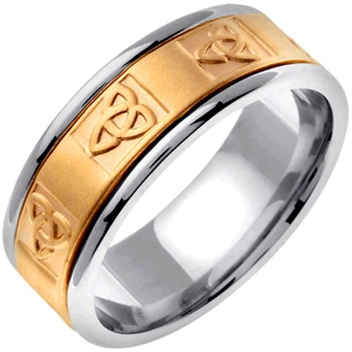 14K Two Tone Gold Celtic Trinity Knot Women'S Wedding Band (8Mm) Size-5