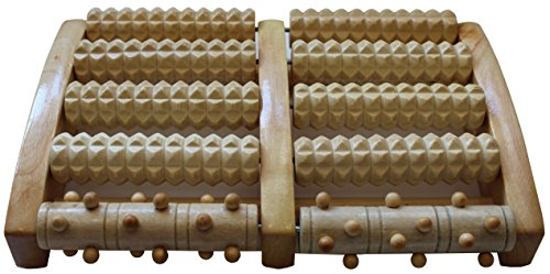 Large Wooden Dual Foot Massager Roller - Relieves Plantar Fasciitis & Foot / Heel Pain, Reduces Stress - Acupressure & Reflexology Tool