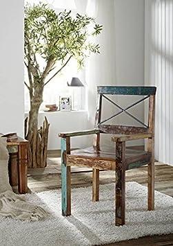 massiv Altholz Möbel lackiert Sessel Massivmöbel mehrfarbig Massivholz Spirit #27