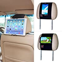 TFY Universal Smartphone & Tablet PC Car Headrest Mount Holder - iPad & iPhone 4/5(S) & iPhone 6 (Plus) - Samsung Galaxy cell phone & Tab - Nexus 5 / 7 / 10 - HTC Desire / Butterfly / One (Max & Mini) and More by TFY