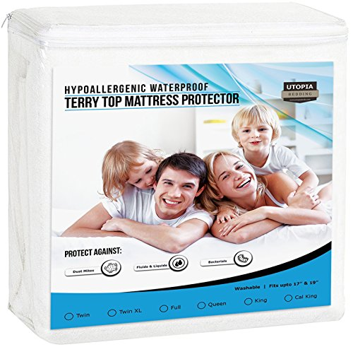 Utopia Bedding Premium Hypoallergenic Waterproof Mattress Protector - Vinyl Free - Breathable Fitted Mattress Cover (King)