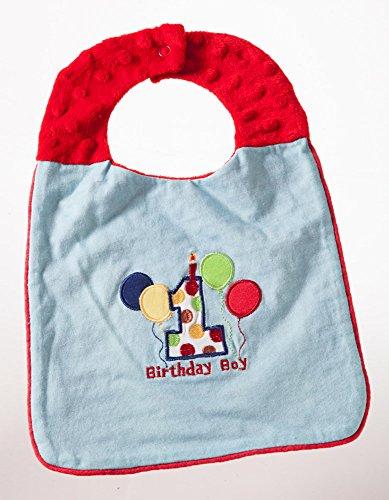 Blue First Birthday Boy Embroidered Cotton Bib
