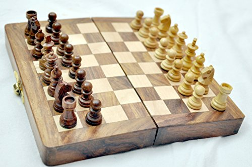 """Kimaro 7"""" Magnetic Form Fitting Folding Wooden Travel Chess Set - 7 in x 7 in - With Wood Pieces in Case - Handmade 1"""