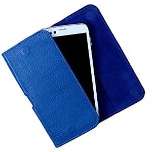 Dooda Genuine Leather Belt Pouch Case For Lava iris 503 (BLUE)