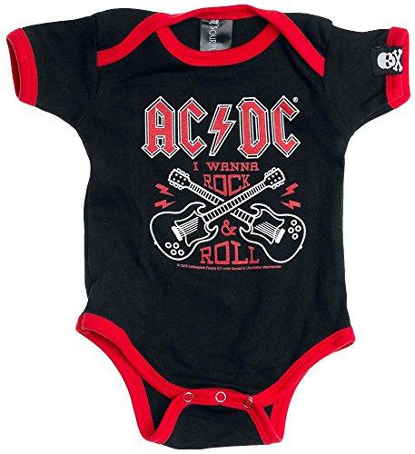 AC/DC Rock & Roll Body bimbo/a nero/rosso 74/80