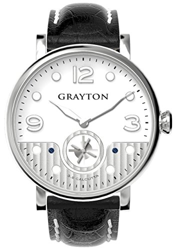 Grayton S.8 Calcutta Men's Quartz Watch with White Dial Analogue Display and Black Leather Strap GR-0014-007.2