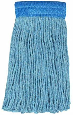 "Wilen A430020, Colored Go Go Blend Cut-End Mop, 20-Ounce, 5"" Mesh Band, Blue (Case of 12)"