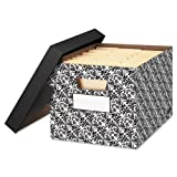 Bankers Box - STOR/FILE Decorative Medium-Duty Storage Boxes, Letter, Black/White Brocade 0022705 (DMi CT