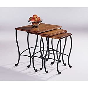 Amazon.com: Coaster Nesting Tables, Black Iron Base Frame with Rustic