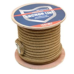 Buy Attwood 117589-1 Gold 1 2 Inch x 100 Foot Braided Nylon Boat Anchor Line by attwood