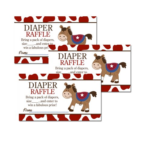Round Em Up Western Horse Baby Shower Diaper Raffle Tickets 20-pack