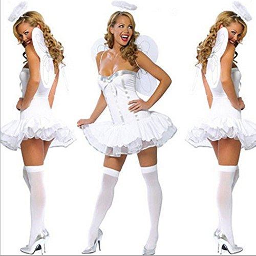 Halloween Ball Show Role Play Party Slim Sexy Lingerie Angel Dress Costume Skirt