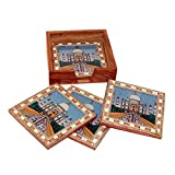 R S Jewels Gemstone Tajmhal Painting Wooden Tea Coaster TC-0202