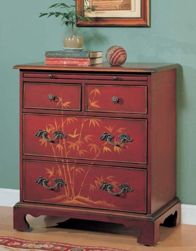 Cheap Console Table Bombe Chest Cherry Finish (VF_AM9160)