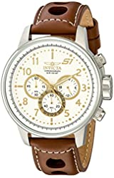 """Invicta Men's 16010 S1 """"Rally"""" Stainless Steel Watch with Brown Leather Band"""