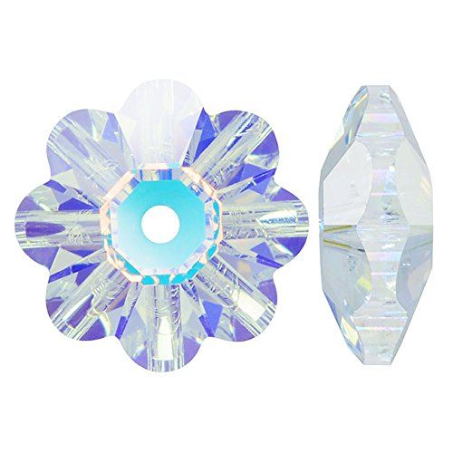 Swarovski Crystal, #3700 Flower Margarita Beads 14mm, 4 Pieces, Crystal AB (Swarovski Crystal Flower compare prices)