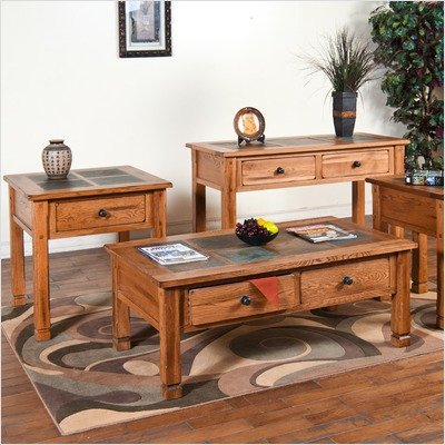 buy low price sunny designs sedona coffee table set with slate top in rustic oak sdz1170. Black Bedroom Furniture Sets. Home Design Ideas