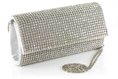 Unze Women Diamante Covered Flap- Over Clutch Evening, Party, Prom , Wedding Handbag - Bg5502-Silver-N