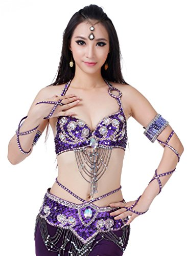 Belly Dance Costumes Dreamspell® Dancing Suit Purple Costumes 3pcs Dancing Purple Set