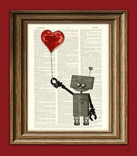 The Love Bot 3000 ROBOT geeky Valentines Day balloon art print upcycled vintage dictionary page book art print (Love And Robots compare prices)