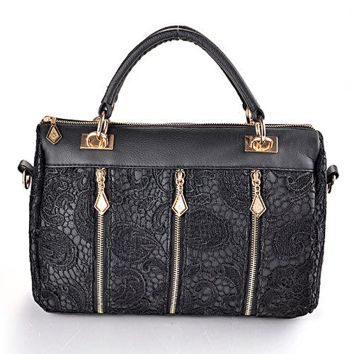 Anladia Women's Celebrity PU Leather Lace Stud Shoulder Bag