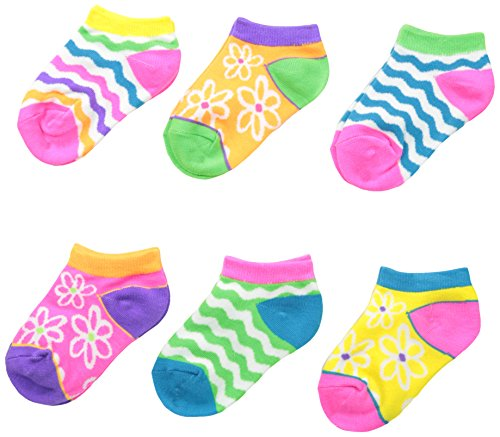 Jefferies Socks Big Girls' Daisy and Wavy Low Cut Socks, Neon, Medium(Pack of 6)