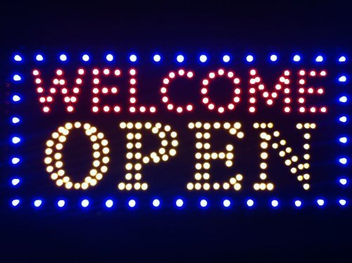 """New Business Sign Ultra Bright Animated Led Neon 19""""X10""""X1"""" Welcome Open Sign"""