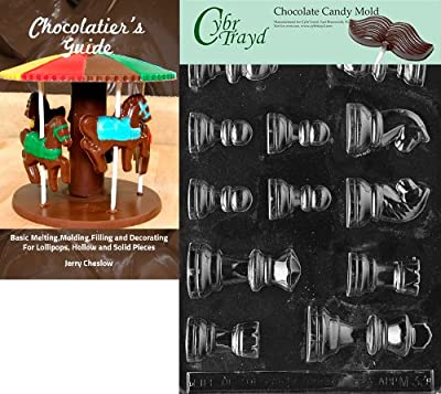 Cybrtrayd Chess Pieces Chocolate Candy Mold with Exclusive Cybrtrayd Copyrighted Chocolate Molding Instructions