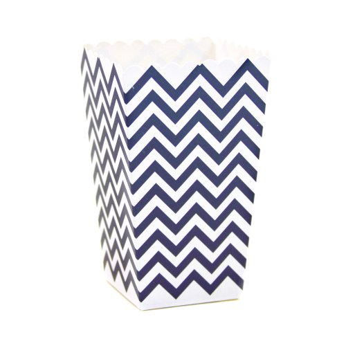 Dress My Cupcake 12-Pack Party Popcorn Boxes, Chevron, Navy Blue front-505591