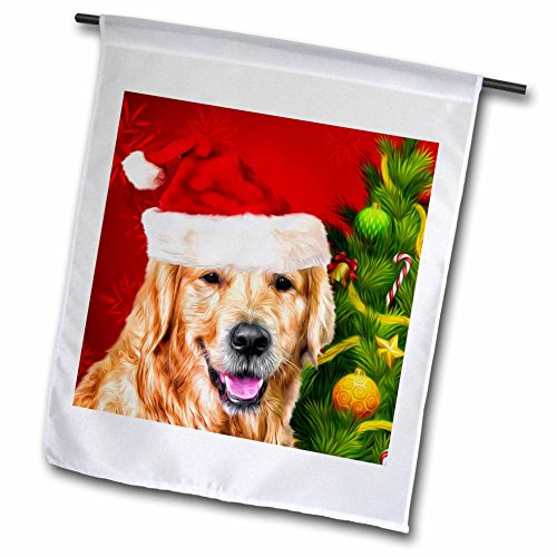 Golden Retriever Dog In A Santa Hat With Christmas Tree Painting