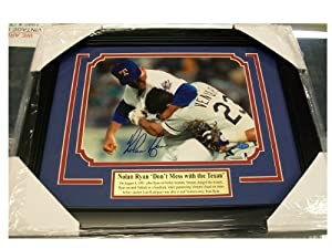 Nolan Ryan Autographed 8x10 Photo Fight Vs Ventura Framed Texas Rangers Hologram