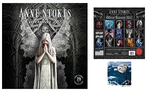 Set: Gothic, Anne Stokes, Calendario Ufficiale 2017 (30x30 cm) E 1x Sticker Adesivo (9x9 cm)