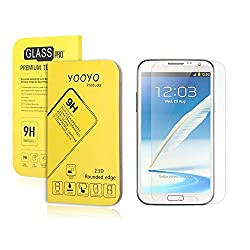 Galaxy Note 2 Screen Protector, YooyoTM 0.33mm Tempered Glass Crystal Clear | Slim | Anti Finger Print | Scratch Proof and Light weight Screen Protector for Samsung Note 2